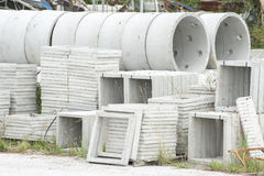 Various types of prefabricated concrete for discharges Royalty Free Stock Photo