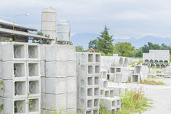 Various types of prefabricated concrete for discharges Royalty Free Stock Image