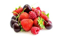Various types of red fruit. Various types of summer red fruit fresh Royalty Free Stock Photography