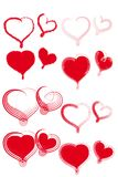 Various types of red hearts. Royalty Free Stock Images