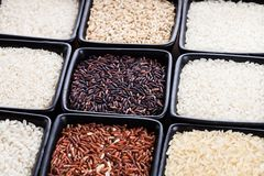 Various types of rice Royalty Free Stock Photos