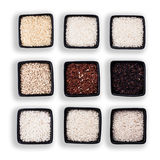 Various types of rice. In black bowls  on white Stock Photography