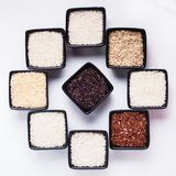 Various types of rice. In black bowls isolated on white Stock Photos