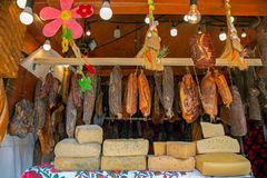 Various types of romanian sausages. Smoked and dried, exposed for sale at one traditional street Easter fair. Specific for Maramures area, Romania Royalty Free Stock Photography