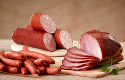 Various types of sausages stock images