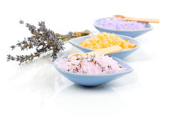 Various types of spa sea salt in bowl Royalty Free Stock Photos