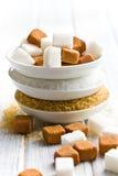 Various types of sugar Royalty Free Stock Photos