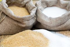 Various types of sugar. Brown sugar and white royalty free stock image