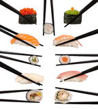 Various types of sushi. Collection of various types of sushi isolated on white Stock Photos