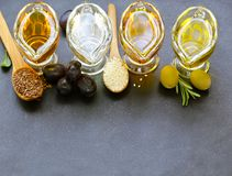 Various types of vegetable oil - sesame, olive, linseed. And grape seeds Stock Photos