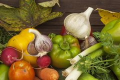 Various types of vegetables on an old wooden table. The concept of diet food. Food for obese patients. Royalty Free Stock Images