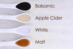Various types of Vinegar. Serving size samples of different types of vinegar including Balsamic, Apple Cider, White and Malt vinegars, with text names added Royalty Free Stock Image