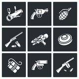 Various types of weapons icons set. Vector Illustration. Stock Image