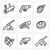 Various types of weapons icons set. Vector Illustration. Royalty Free Stock Photography