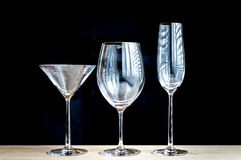 Various types of wine glasses Royalty Free Stock Images
