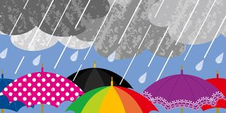 Various Umbrellas in Rainy weather Royalty Free Stock Image