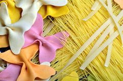 Various uncooked pasta Royalty Free Stock Image