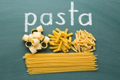 Various uncooked pasta on chalkboard Royalty Free Stock Image