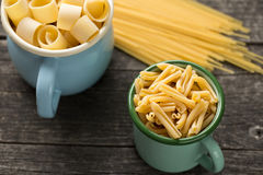 Various uncooked pasta Stock Photography