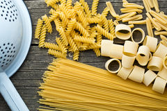 Various uncooked pasta Royalty Free Stock Images