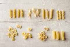 Various uncooked pasta set Royalty Free Stock Images