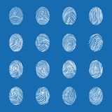 Various Unique Fingerprints White Thin Line Icon Set. Vector. Various Unique Fingerprints White Thin Line Icon Set on a Blue Identification Privacy Technology Royalty Free Stock Photography