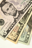 Various US dollar bills. Closeup of various US dollar bills Royalty Free Stock Image