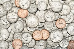 Various USA, American coins for business, money, financial concept background. Pile of Golden coin, silver coin, copper coin, royalty free stock images