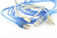 Various USB cable, ready to use Stock Photos