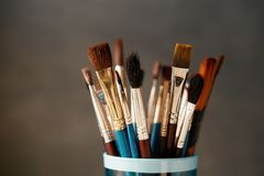 Various Used Paint Brushes Royalty Free Stock Images