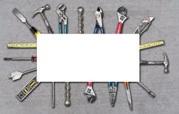 Various used tools on white background. Various used tools on white isolated background Royalty Free Stock Photos