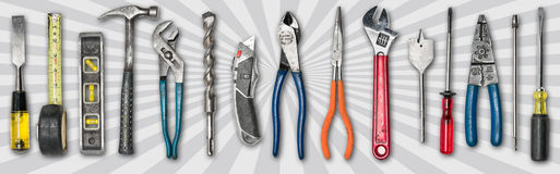 Various used tools on white background Stock Photos