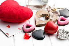 Various valentine hearts. On white wooden background Royalty Free Stock Image