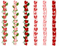 Various Valentine's Day Heart Borders. A clip art illustration featuring 6 colorful Valentine's Day heart borders in pink and red with vines and stripes Royalty Free Stock Photo