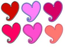 Various Valentine's Day Hearts Clip Art. A clip art illustration featuring 6 uniquely coloured Valentine heart shaped logos or labels Royalty Free Stock Photography