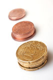Various value euro cent coins Royalty Free Stock Photography