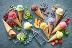 Free Various Varieties Of Ice Cream In Cones Royalty Free Stock Photography - 158155767