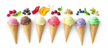Free Various Varieties Of Ice Cream In Cones Isolated On White Background Royalty Free Stock Image - 158155276