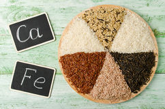 Various varieties of rice on a wooden table stock image