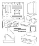 PC Peripherals. Various vector drawing of personal computer peripherals vector illustration