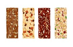 Various vector granola bars  on white background. Healthy gluten-free and lactosa free snacks. Energy bars. Various vector granola bars  on white background Stock Photography