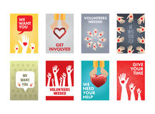 Various vector icon set of volunteers. On white background Royalty Free Stock Photo