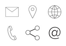 Various vector icons of communication. On white background stock illustration