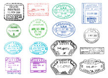 Various vector passport stamps Royalty Free Stock Photo