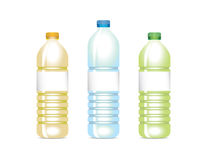 Various vector plastic bottles. Set of plastic bottles, oil, water and green tea Stock Photography