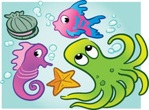 Various vector sea creatures. Clam, fish, seahorse, octopus, starfish Stock Photo