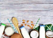 Free Various Vegan Plant Based Milk And Ingredients On Grey, Top View, Copy Space. Dairy Free Milk Substitute Drink, Healthy Eating Stock Images - 149141304