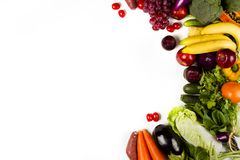 Vegetable and fruits isolated white background Stock Photos