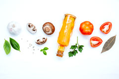 Various vegetable and ingredients for cooking pasta menu sweet Stock Photos