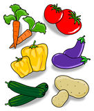 Various vegetables. This illustration depicts pairs of various vegetables, with shadow on white background Stock Photography
